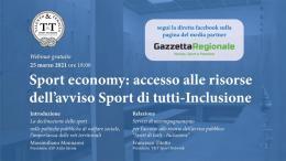 Sport Economy: accesso alle risorse. Segui la diretta a partire dalle 18
