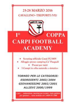 A marzo la prima edizione della Coppa Carpi Football Academy