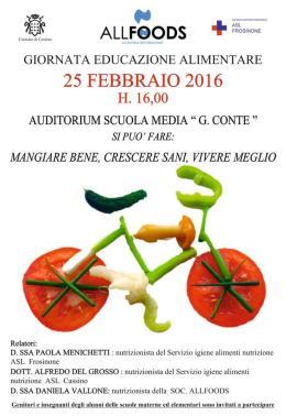 Cassino: oggi si celebra la Giornata dell'Educazione alimentare